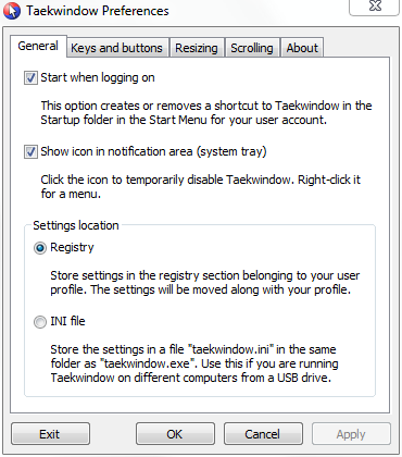 A screenshot of the Taekwindow preferences dialog